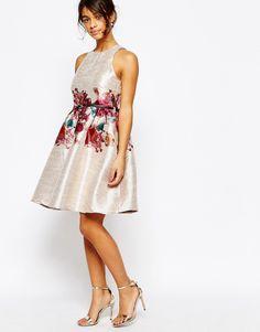 Image 4 ofLittle Mistress Petite Dress With Floral Border Print