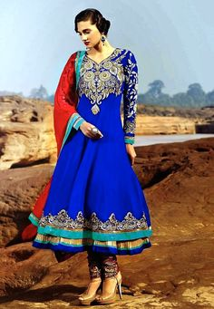 Royal Blue and Red Layered Anarkali
