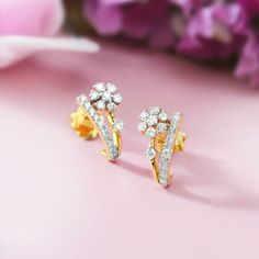 Studs Source by divyavajuroju Jewelry Design Earrings, Gold Earrings Designs, Rose Jewelry, Small Earrings, Ear Jewelry, Stud Earrings, Gold Diamond Earrings, Diamond Bracelets, Diamond Jewellery