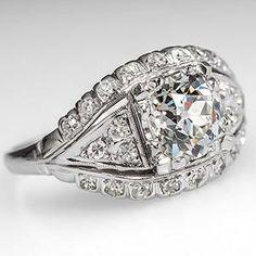 Art Deco Diamond Engagement Ring w/ Old Mine Diamond Platinum 1920's