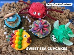 We found all the decorations for these cupcakes at our local grocery store. You will be the star of your pool, beach or luau party with these adorable cupcakes. Get all the information at todayscreativeFood.com