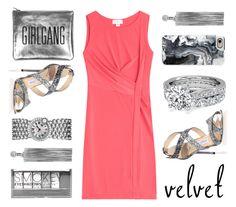 """#Velvet Dress"" by kjstylerussia ❤ liked on Polyvore featuring Velvet, Jimmy Choo, Jack Vartanian, Boohoo and Casetify"
