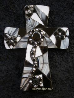Black and white mosaic cross www.facebook.com/tinypiecesmakeart