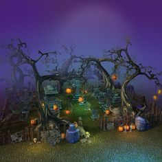 Low Poly Cemetery Halloween Set