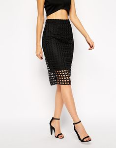 Image 4 of Lipsy Grid Pencil Skirt