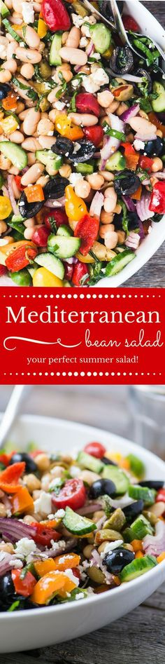 My colorful and crunchy Mediterranean Bean Salad is the perfect side salad ~ it\'ll take you through picnic and barbecue season with ease, and you\'ll want to make up a big batch to keep in the fridge for quick and healthy lunches, too, it\'s packed with protein!