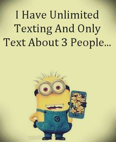 Minion texting people 。◕‿◕。 See my Despicable Me Minions pins https://www.pinterest.com/search/my_pins/?q=minions