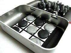 How-To: Mint Tin Travel Games. clean tin. print game boards. adhere to tin. make magnetic game pieces....