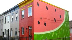 Travelogue of An Armchair Traveller: Water Melon House Watermelon Art, Watermelon Designs, Watermelon Patch, Watermelon Carving, Washington Dc Travel, Mural Art, Wall Mural, Wall Art, Travelogue