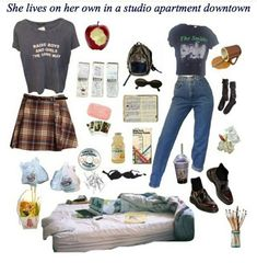 2 casual outfits, many accessories Retro Outfits, Grunge Outfits, Vintage Outfits, Casual Outfits, Cute Outfits, Fashion Outfits, Hipster School Outfits, Aesthetic Fashion, Aesthetic Clothes