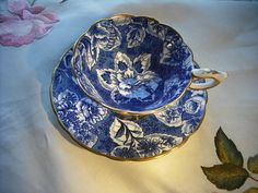 Vintage Royal Stafford Tapestry China Tea Cup and Saucer Tea Cup Set, My Cup Of Tea, Tea Cup Saucer, Tea Sets, Blue And White China, Blue China, Teapots And Cups, Teacups, Blue Tapestry