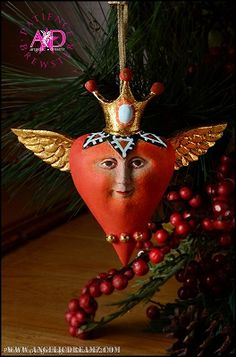 2013 Patience Brewster Krinkles, Heart with Crown Mini Ornament