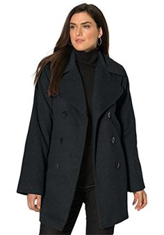 St Johns Bay Womens Plus Pea Coat Wool blend solid size 3X NEW ...
