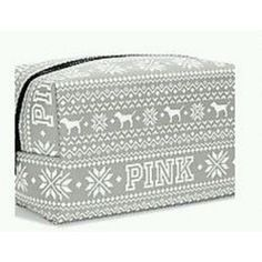 Amazon.com : Victoria's Secret Pink Grey Fairisle Makeup Bag : Beauty ($21) ❤ liked on Polyvore featuring beauty products, beauty accessories, bags & cases, cosmetic bags, wash bag, toiletry bag, travel kit and travel toiletry case