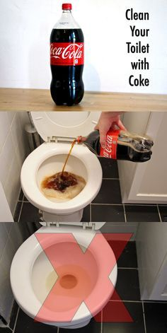 Turns out, if you try to clean your toilet with coke, it will leave a gross brown stain that you will have to flush down several times and scrub with regular toilet cleaner to get off. Homemade Cleaning Products, Household Cleaning Tips, Toilet Cleaning, Household Cleaners, Car Cleaning, Cleaning Hacks, Cleaning With Coke, Cleaning Toilets, Toilet Stains