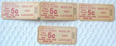 LOT OF 4 WHITNEY BROS. CHUTES AT THE BEACH (PLAYLAND) 5 CENT TICKETS 3 ATTACHED