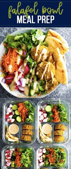 Falafel salad bowls are made with crispy baked falafels, tons of fresh veggies, and a drizzle of creamy tahini maple dressing. A delicious vegetarian meal prep recipe! #sweetpeasandsaffron #mealprep #falafel #vegetarian #dairyfree