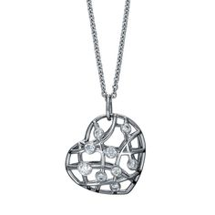 Brocade Diamond Heart 18K White Gold Pendant Necklace