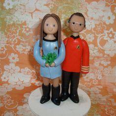 Cute, custom, original series Star Trek wedding cake toppers.