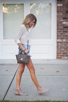 White blouse, denim shorts, tan booties