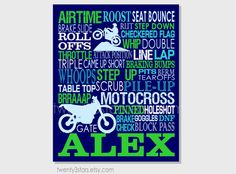 Motocross Typography Art Print, Perfect Boy's Room Art, You Choose the Colors, Great Gift for any Dirt Bike Enthusiast in navy and blue and green