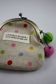 Cotton Linen polka dot pouch with felt balls Small size