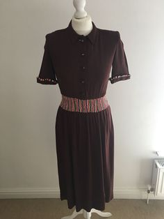 4e982f4881 Vintage 1940 s CC41 Utility Brown Tea Dress Size 10