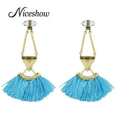 Bohemian Style Ethnic Jewelry Bronze with Blue Hotpink Tassel Earrings Big Statement Drop Earrings for Women From India $11.99   #style #instalike #dress #pretty #sweet #fashion #beautiful #swag #model #iwant #ootd #instastyle #shopping #fashionista #love