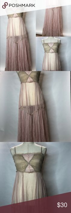 Intimately Free People Lingerie Dress Night Sexy A Sexy sheer pink Intimately by Free People lingerie nightie! Very sexy and can be worn with or without the straps. Also, the straps are fully adjustable.   Size X-small. Free People Intimates & Sleepwear Chemises & Slips
