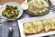 Seared Cod & Garlic-Ginger Rice with Ponzu-Glazed Broccoli