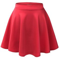MBJ Womens Basic Versatile Stretchy Flared Skater Skirt ($6.89) ❤ liked on Polyvore featuring skirts, bottoms, red, saia, skater skirt, stretch skirt, flared hem skirt, red skater skirt and red flare skirt