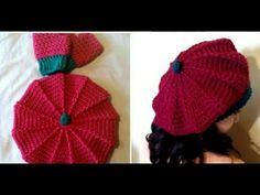 Crochet Beret facile - YouTube Crochet Beret, Patron Crochet, Bonnet Crochet, Form Crochet, Crochet Baby, Crochet Patterns, Crochet Videos, Lana, Headbands