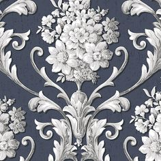 Norwall Wallcoverings Floral Damask Navy & Metallic Silver Wallpaper in Navy/Metallic Silver Blue Silver Wallpaper, Damask Wallpaper, Rose Wallpaper, Vinyl Wallpaper, Wallpaper Roll, Pattern Wallpaper, Scenic Wallpaper, Bathroom Wallpaper, Victorian Fabric