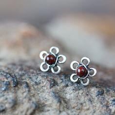 Small Wire Wrapped Flower Post Earrings With Jasper