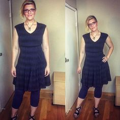This is the 'Textured Knit Dress' by the brand Taylor Dresses, via Gwynnie Bee. I paired it with another pair of my own navy Athleta cropped leggings, some no-name black wedge sandals I've had for years, and a necklace from Natural Life's Junk Market line. These glasses are by Tory Burch, and I got them from my local optician's office. I looked for the frames online but I think they're a couple seasons old and wasn't able to find them.
