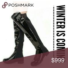 """Coming Soon! """"Demi"""" Knee High Riding Boots Size 5.5 thru 9, black patent leather, elasticized back idea for wide calves, ridged semi-chunky heel great for sloughing through winter snow Wild Plum Boutique  Shoes Over the Knee Boots"""