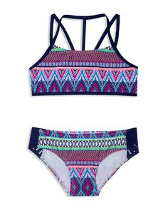Gossip Girl Girls' Tribal Stripe 2-Piece Swimsuit - Sizes 7-16