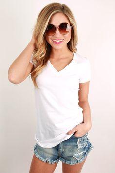 Basic Feminine Fit V-Tee in White