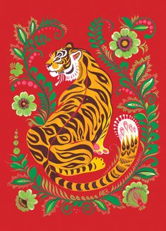 Tiger Folk Art' Poster by Anna Bucciarelli is part of Tiger Folk Art Posters By Anna Bucciarelli Redbubble - Tiger illustration featuring Eastern European folk art motifs Art Inspo, Kunst Inspo, Inspiration Art, Tiger Illustration, Cat Illustrations, Art Tigre, L Wallpaper, Pattern Wallpaper, Drawn Art