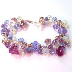 Purple Amethyst Bracelet, Lavender Crystal Bracelet, Cha Cha Bracelet,... ($35) ❤ liked on Polyvore