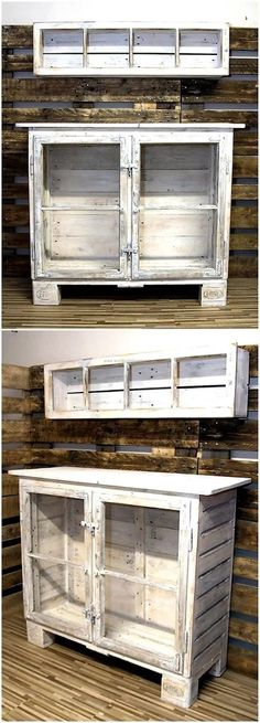 With so many items in the kitchen to store, a person has to face an issue; but this idea of reclaimed wood pallet storage cabinet is enough to solve the issue. A person can make it in any size according to the space in the kitchen. Handmade Furniture, Repurposed Furniture, Pallet Furniture, Furniture Projects, Furniture Making, Cheap Furniture, Furniture Removal, Furniture Websites, Furniture Dolly