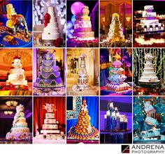 ANDRENA PHOTOGRAPHY - Best Wedding Cakes: As a Los Angeles Wedding and Event Photographer, I have had the opportunity to encounter some truly spectacular cakes. We've seen elephants and stacks of Arabian-style pillows, as well as Tiffany boxes that truly defy the laws of gravity. Here, I show off some of our favorite cakes. Be sure to check out the crazy cake in the last row, fourth image from the left. Created by Shawna Yamamoto, this whimsical structure featured colored water in lucite…