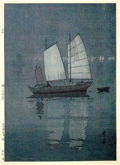 Sailing Boats, Night  by Hiroshi Yoshida, 1926