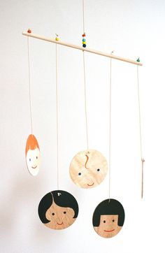 Hand-painted Little Edie Multi-Cultural Family Wooden Mobile