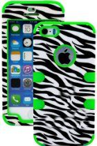 "myLife (TM) Bright Green and Black - Zebra Stripes Series (Neo Hypergrip Flex Gel) 3 Piece Case for iPhone 5/5S (5G) 5th Generation iTouch Smartphone by Apple (External 2 Piece Fitted On Hard Rubberized Plates + Internal Soft Silicone Easy Grip Bumper Gel + Lifetime Warranty + Sealed Inside myLife Authorized Packaging) ""Attention: This case comes grip easy smooth silicone that slides in to your pocket easily yet won't slip out of your hand"""