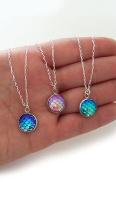 "Dainty simple mermaid scale necklaces in different colors at BubblegumGraffiti(dot)com New slender 20"" silver plated chain, perfect party favors and priced very low!"