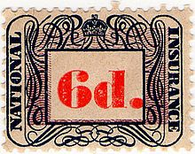 A British 1948 National Insurance stamp, once used to collect contributions to the scheme.-The government set about implementing William Beveridge's plans for the creation of a 'cradle to grave' welfare state, and set in place an entirely new system of social security. Among the most important pieces of legislation was the National Insurance Act 1946, in which people in work paid a flat rate of national insurance. In return, they (and the wives of male contributors) were eligible for…