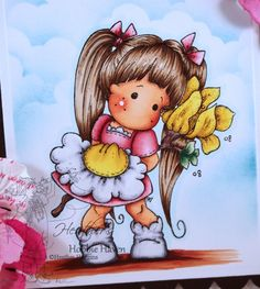 Tilda with Love. Step by Step Instructions for Copic Coloring Card Kit by HeathersHobbieHaven.