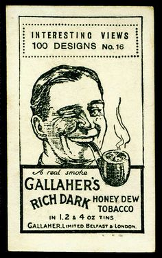 "Cigarette Card Back - Gallaher's ""Rich Dark Honey Dew"" 