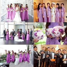 Pantone Color Of The Year 2014 : Radiant Orchid as a Wedding Theme/Inspiration. The girls are wearing Orchid bridesmaid dresses and traditional Vietnamese Ao Dai, while the men are in grey suits! A perfect and gorgeous wedding color! Ao Dai Wedding, Purple Wedding, Wedding Colors, Wedding Styles, Dream Wedding, Wedding Ideas, Wedding Planning, Orchid Bridesmaid Dresses, Wedding Bridesmaids